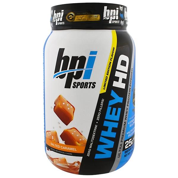BPI Sports, Whey HD, Ultra Premium Whey Protein Powder, Salted Caramel, 2.04 lbs (925 g) (Discontinued Item)