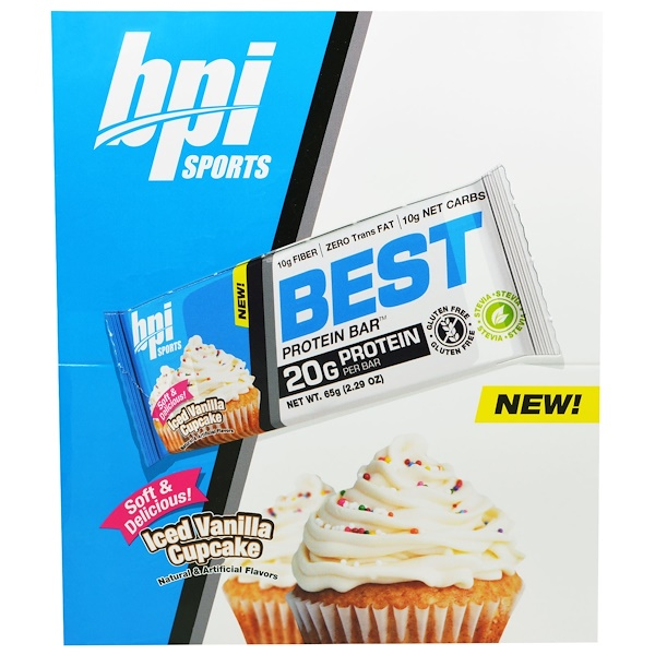 BPI Sports, Best Protein Bars, Iced Vanilla Cupcake, 12 Bars, 2.29 oz (65 g) Each (Discontinued Item)