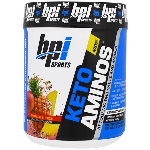 BPI Sports, Keto Aminos,Ketogenic BHB鹽和氨基酸,爽口熱帶水果味,1、32磅(600克)