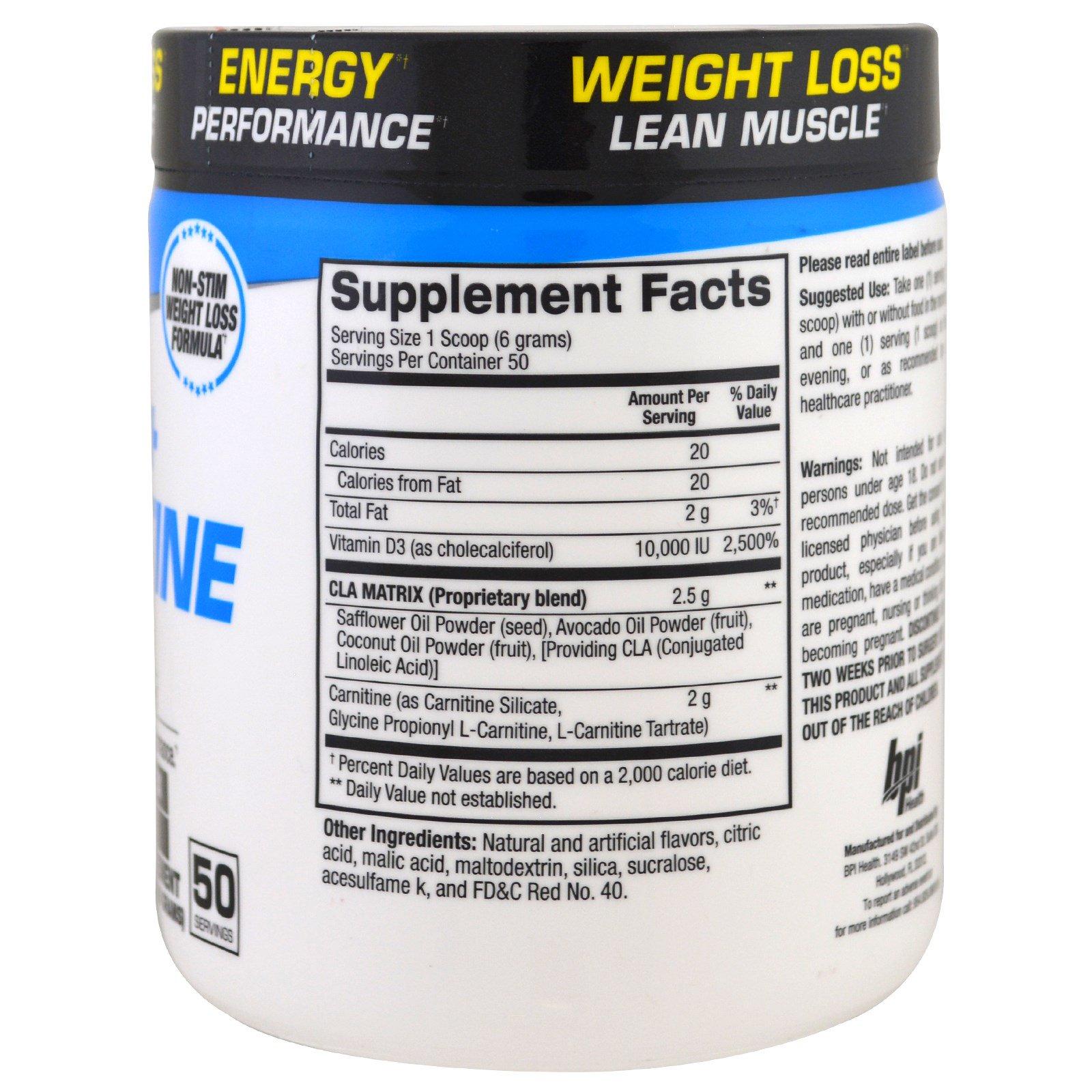 BPI Sports, CLA + Carnitine, Fruit Punch, 10.58 oz (300 g