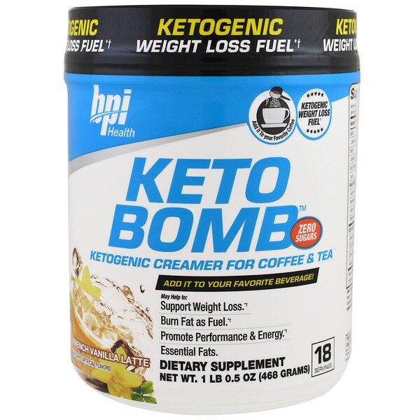 Keto Bomb, Ketogenic Creamer For Coffee & Tea, French Vanilla Latte, 1.5 oz (468 g)