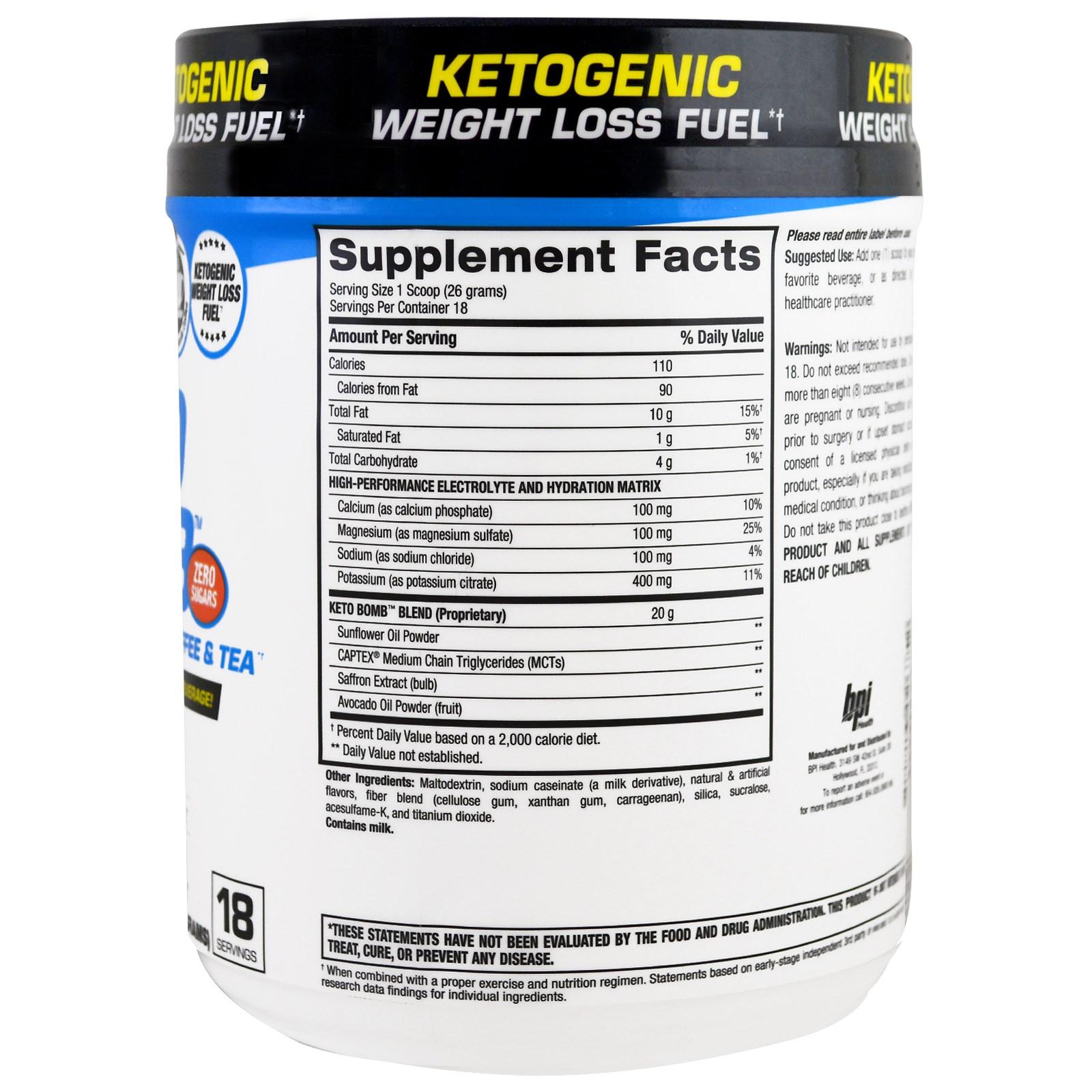 BPI Sports, Keto Bomb, Ketogenic Creamer For Coffee & Tea, Caramel Macchiato, 1 lb 0.5 oz (468 g ...
