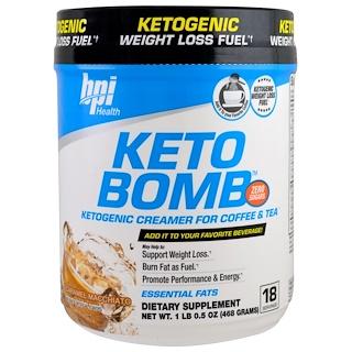 BPI Sports, Keto Bomb, Ketogenic Creamer For Coffee & Tea, Caramel Macchiato, 1 lb 0.5 oz (468 g)