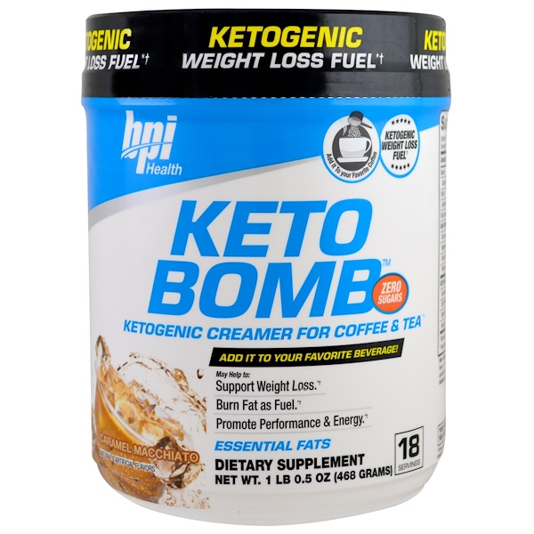 BPI Sports, Keto Bomb, Ketogenic Creamer For Coffee & Tea, Caramel Macchiato, 1 lb 0.5 oz (468 g ...
