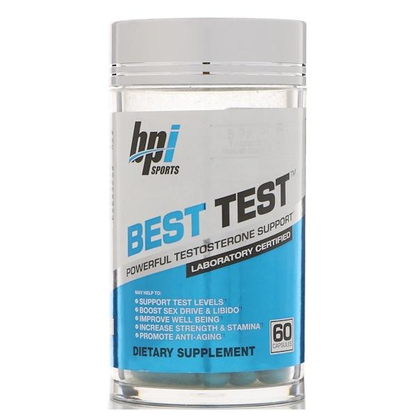 BPI Sports, 最佳測試,強大的睾酮支持,60 粒膠囊