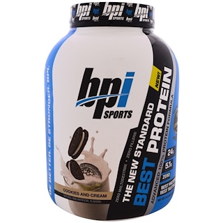 BPI Sports, Best Protein, Advanced 100% Protein Formula, Cookies and Cream, 5.2 lbs (2,363 g)