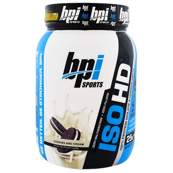 BPI Sports, ISO HD, 100% Whey Protein Isolate & Hydrolysate, Cookies and Cream, 1.8 lbs (805 g) (Discontinued Item)