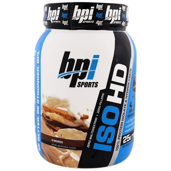 BPI Sports, ISO HD、100% ホエイ プロテイン アイソレート & ハイドリセート、スモア、1.8 lbs (805 g) (Discontinued Item)