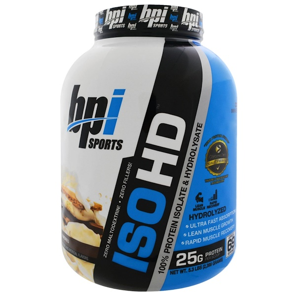 BPI Sports, ISO HD, 100% Whey Protein Isolate & Hydrolysate, S'Mores, 5.3 lbs (2,398 g) (Discontinued Item)
