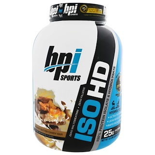 BPI Sports, ISO HD, 100% Whey Protein Isolate & Hydrolysate, Peanut Butter Candy Bar, 5.3 lbs (2,398 g)