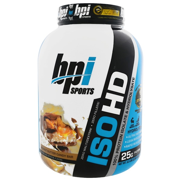 BPI Sports, ISO HD, 100% Whey Protein Isolate & Hydrolysate, Peanut Butter Candy Bar, 5.3 lbs (2,398 g) (Discontinued Item)