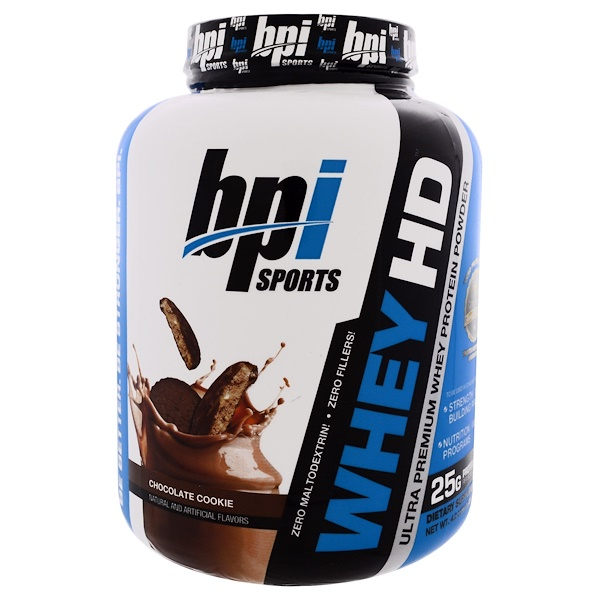 BPI Sports, Whey HD, Ultra Premium Whey Protein Powder, Chocolate Cookie, 4.2 lbs (1,900 g)