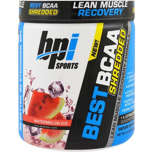 品牌從A - ZBPI Sports類別補充品氨基酸類BCAA(#x652F;鏈氨基酸):BPI Sports, 最佳支鏈氨基酸粉瘦肌肉恢復配方,西瓜冰,9、7 盎司(275 克)