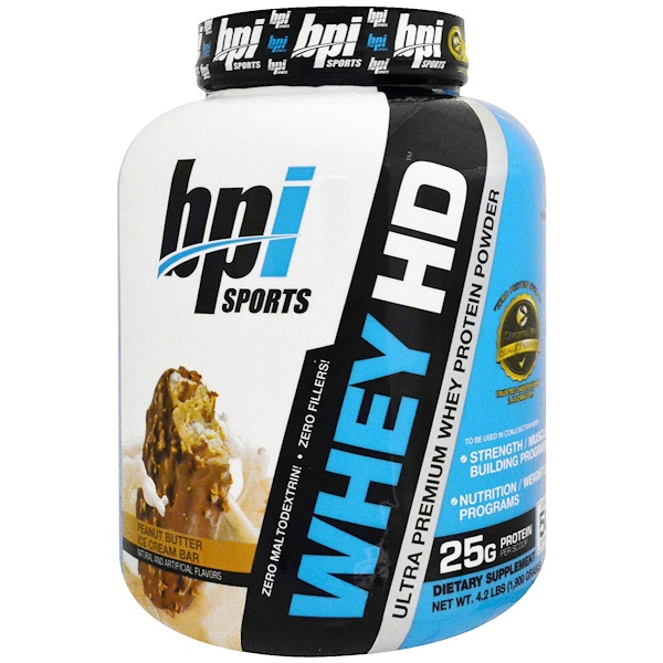 BPI Sports, Ultra Premium Whey Protein Powder, Peanut Butter Ice Cream Bar, 4.2 lbs (1,900 g)