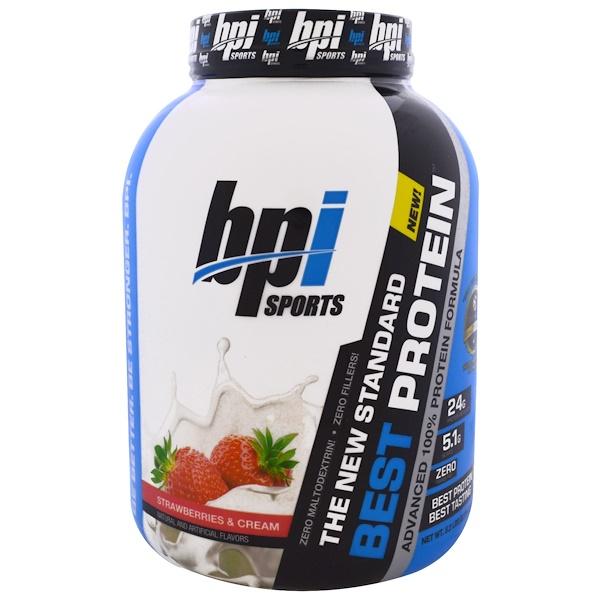 BPI Sports, 最佳蛋白質,高級100%蛋白質配方,草莓和奶油,5、2磅(2376克)