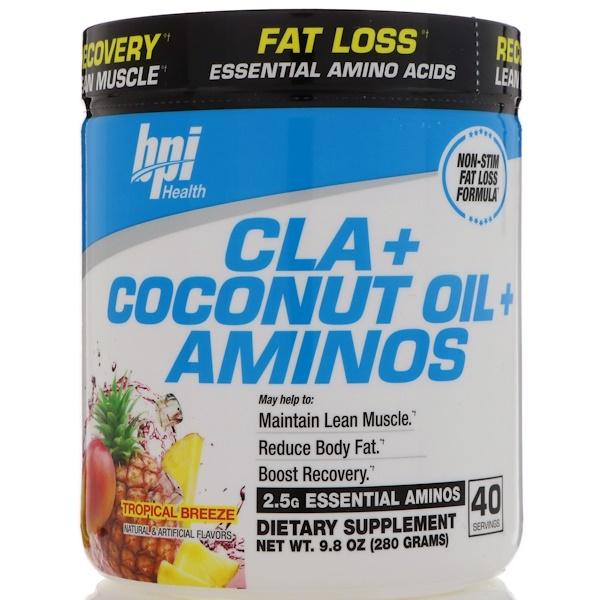 品牌從A - ZBPI Sports類別補充品節食和減重CLA(#x5171;軛亞油酸)類別補充品氨基酸類氨基酸混合物:BPI Sports, 共軛亞油酸+椰子油+氨基酸,熱帶微風,9、8盎司(280克)