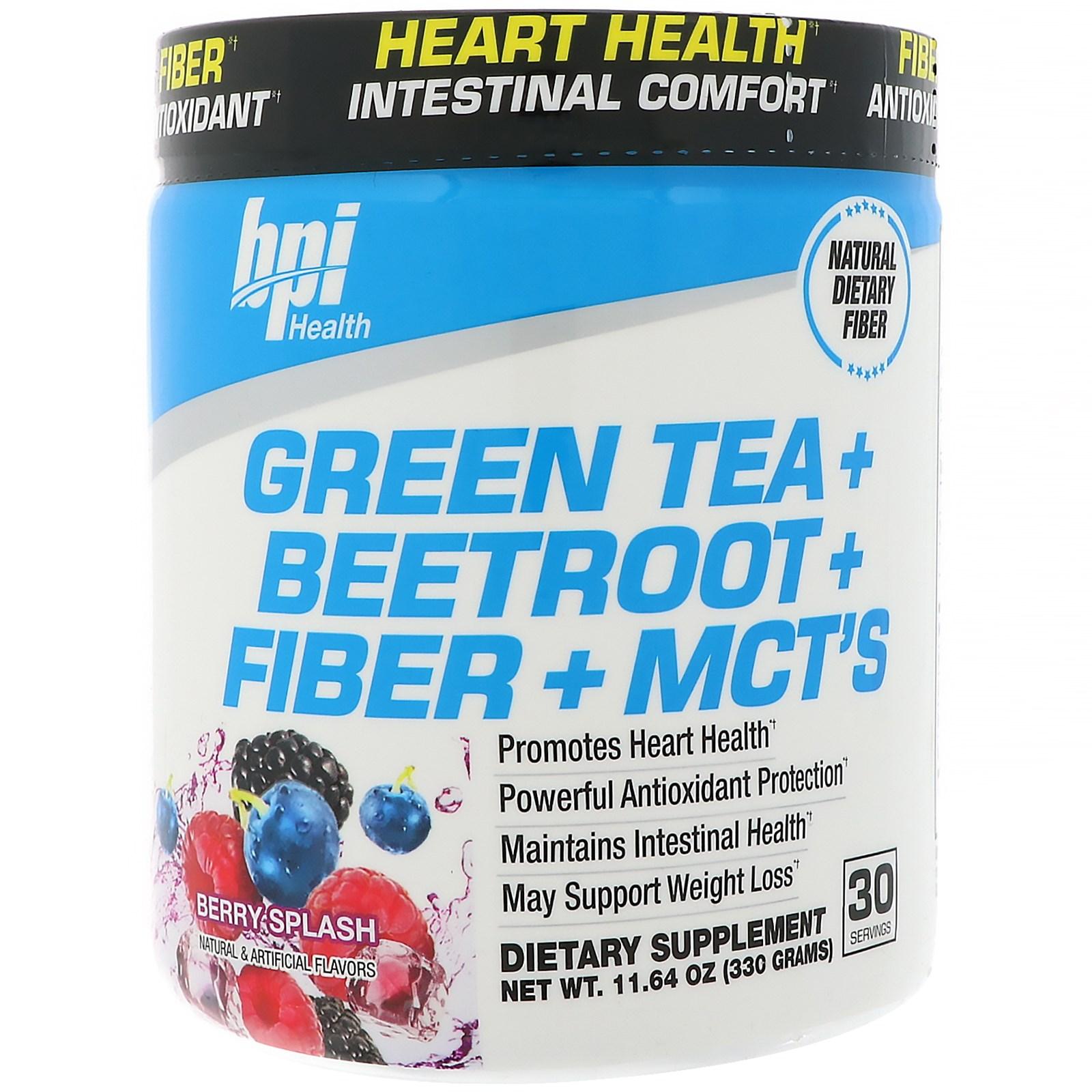 BPI Sports, Зеленый чай + Свекла + Клетчатка + среднецепочечные триглицериды, Ягодный всплеск, 11,64 унции (330 г)