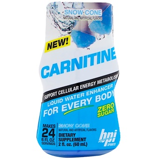 BPI Sports, Carnitine, Liquid Water Enhancer, Snow Cone, 2 fl oz (60 ml)