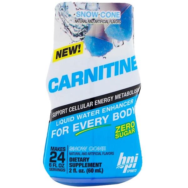 BPI Sports, カルニチン、リキッドウォーターエンハンサー、かき氷、2 fl oz (60 ml)