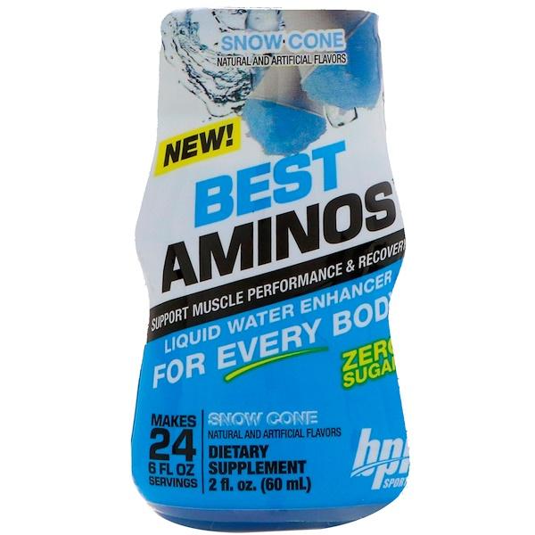 BPI Sports, Best Aminos, Mejorador líquido para el agua, Cono de nieve, 2 fl oz (60 ml) (Discontinued Item)