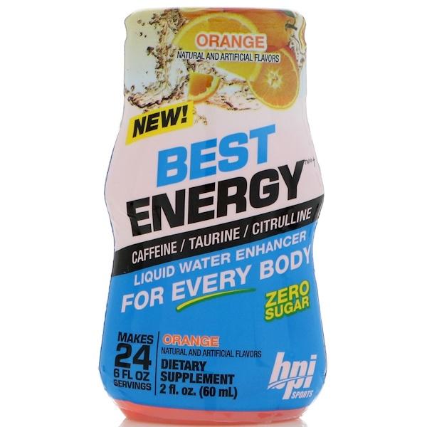 BPI Sports, Best Energy, Liquid Water Enhancer, Orange, 2 fl oz (60 ml)