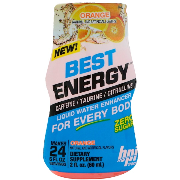 BPI Sports, Best Energy, Liquid Water Enhancer, Orange, 2 fl oz (60 ml)
