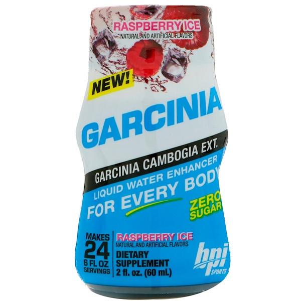 BPI Sports, ガルシニアリキッドウォーターエンハンサー、ラズベリーアイス、2 fl oz (60 ml)