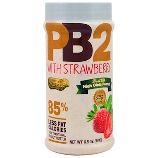 Bell Plantation, PB2, Powdered Peanut Butter with Strawberry, 6.5 oz (184 g)