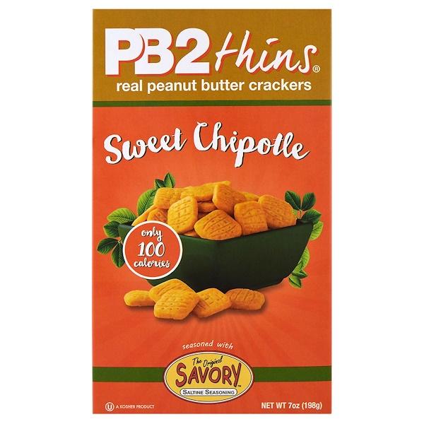 PB2 Foods, PB2 Thins, Sweet Chipotle, 7 oz (198 g) (Discontinued Item)