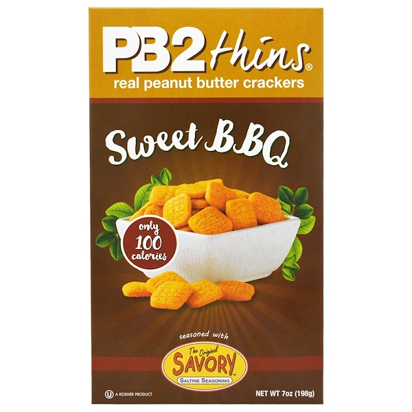 PB2 Foods, PB2 Thins, Sweet BBQ, 7 oz (198 g) (Discontinued Item)