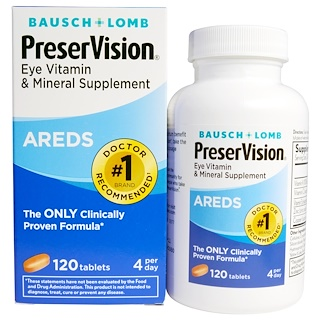 Bausch & Lomb, PreserVision, AREDS, Eye Vitamin & Mineral Supplement, 120 Tablets