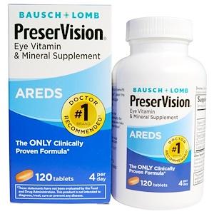 Bausch & Lomb PreserVision, AREDS, витаминная и минеральная добавка для глаз, 120 таблеток