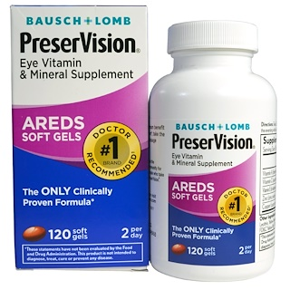 Bausch & Lomb PreserVision, AREDS, Eye Vitamin & Mineral Supplement, 120 Soft Gels