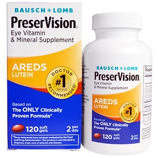 Bausch & Lomb, PreserVision, AREDS Lutein, Eye Vitamin & Mineral Supplement, 120 Soft Gels
