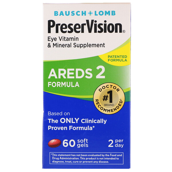 Bausch & Lomb, PreserVision,AREDS 2 配方,60 粒軟凝膠