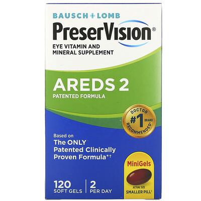 Bausch & Lomb PreserVision, AREDS 2 Formula, добавка для здоровья глаз с витаминами и минералами, 120 мягких таблеток