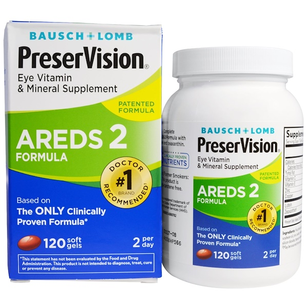 Bausch & Lomb, PreserVision, AREDS 2 Formula, Eye Vitamin & Mineral Supplement, 120 Soft Gels