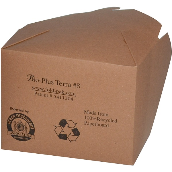 Bio-Plus Terra, 100% Recycled Brown Kraft Take Out, #8, 50 Boxes, 40 oz Capacity  (Discontinued Item)