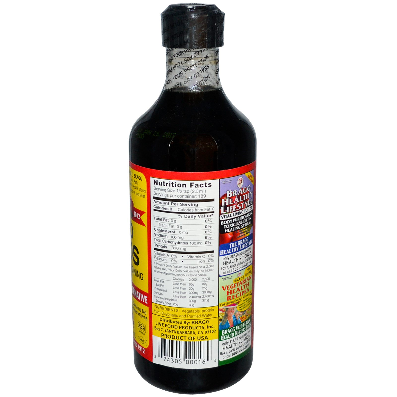 Bragg Liquid Aminos Natural Soy Sauce Alternative 16 Fl Oz 473 Ml Iherb