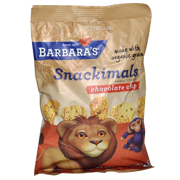 Barbara's Bakery, Snackimals 動物クッキー チョコレートチップ 2.125 oz (60 g) (Discontinued Item)
