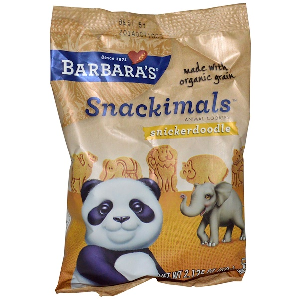 Barbara's Bakery, Snackimals Animal Cookies, Snickerdoodle, 2.125 oz (60 g)  (Discontinued Item)