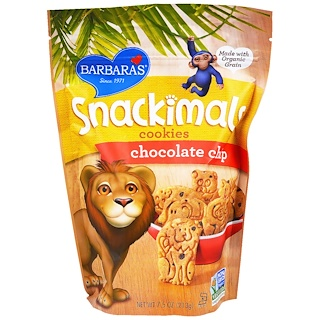 Barbara's Bakery, Snackimals, Animal Cookies, Chocolate Chip, 7.5 oz (213 g)