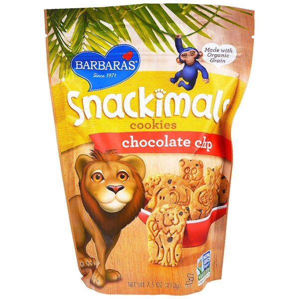 Barbara's Bakery, Snackimals, Animal Cookies, Chocolate Chip, 7.5 oz (213 g) (Discontinued Item)