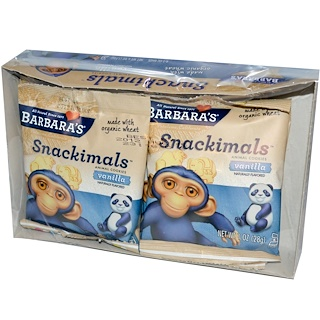 Barbara's Bakery, Snackimals, Animal Cookies, Vanilla, 6 Bags, 1 oz (28 g) Each