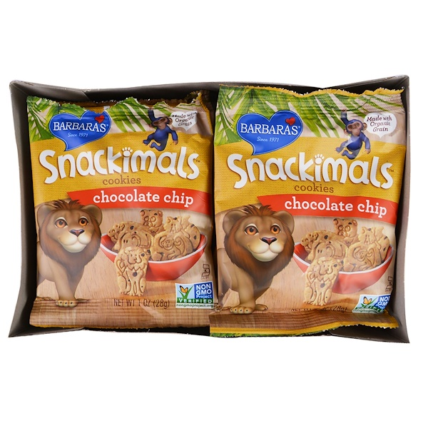 Barbara's Bakery, Snackimals, Animal Cookies, Chocolate Chip, 6 Bags, 1 oz (28 g) Each (Discontinued Item)