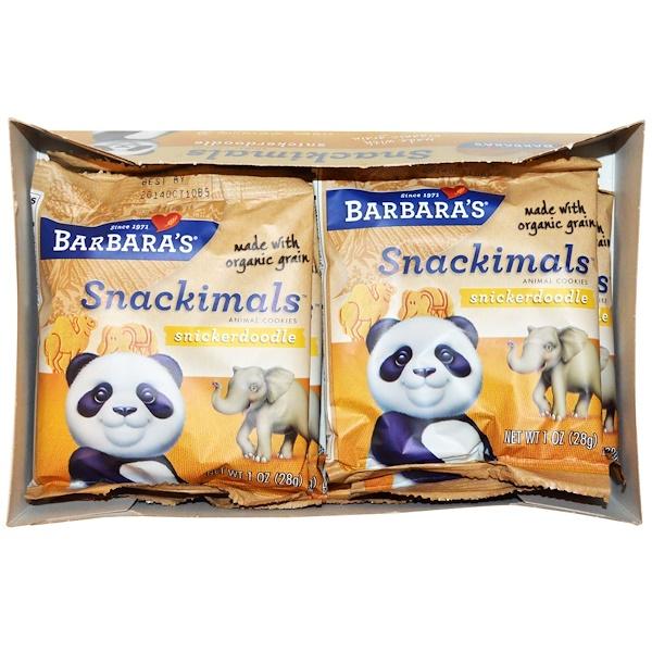 Barbara's Bakery, Снэки, печенье сникердудл в форме зверей, 6 пакетов, каждый по 1 унции (28 г) (Discontinued Item)