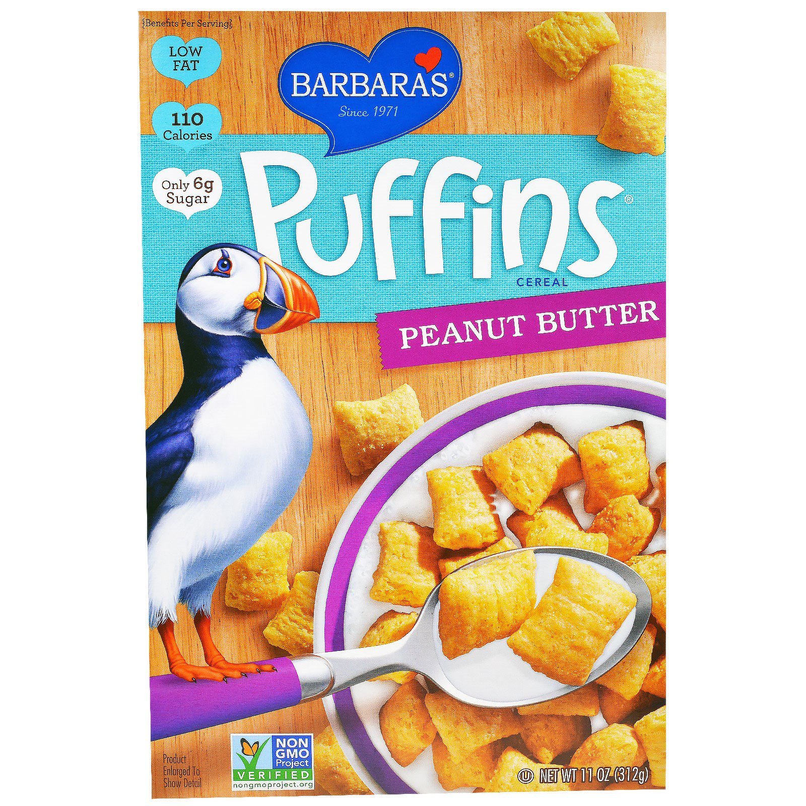 Barbara's Bakery, Puffins Cereal, арахисовое масло, 11 унций (312 г)