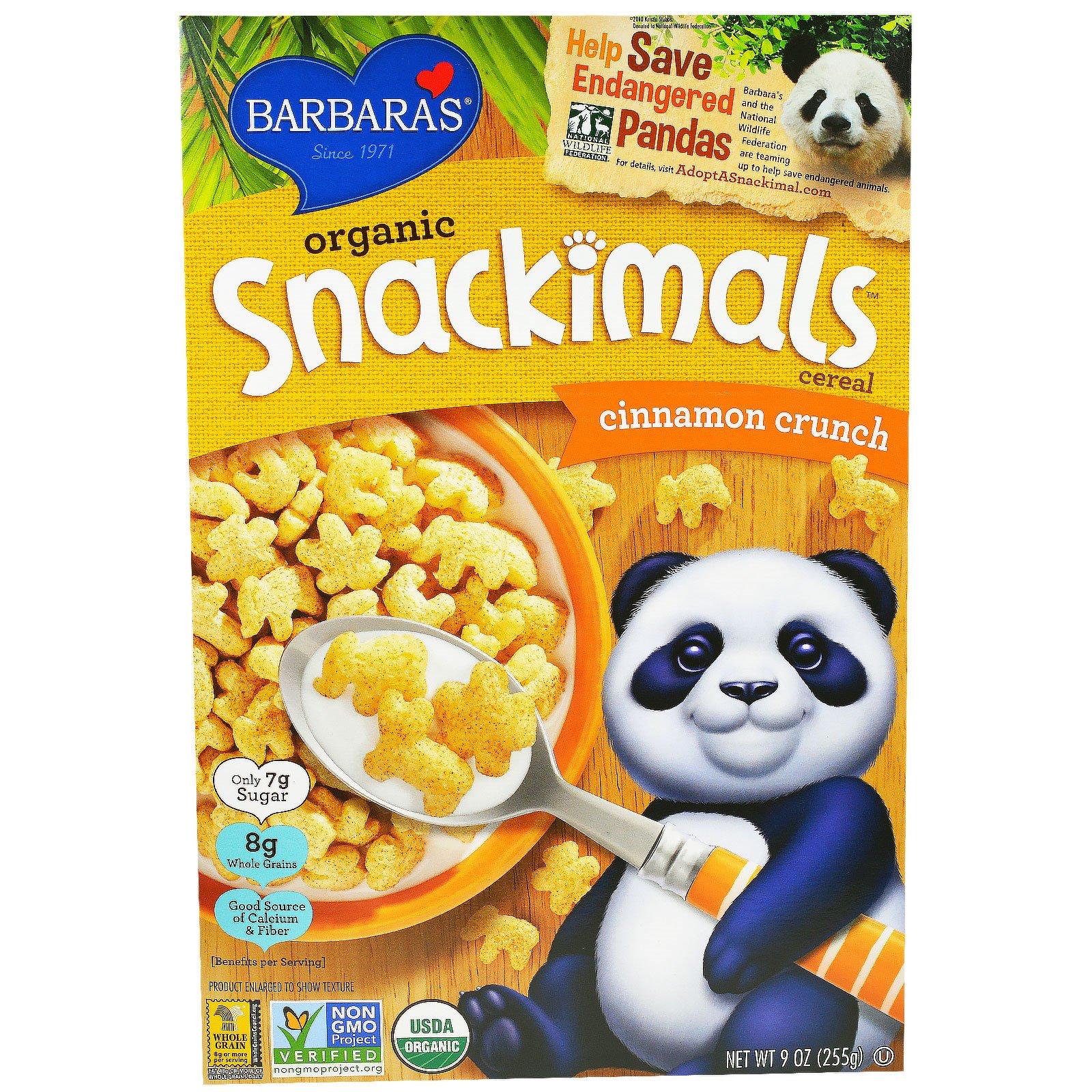 Barbara's Bakery, Органические зерновые хлопья Snackimals, хрустящая корица, 9 унций (255 г)