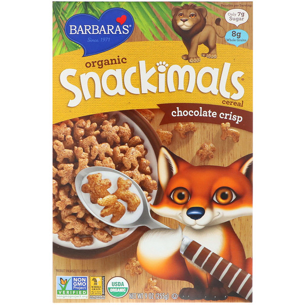 Barbara's Bakery, Organic Snackimals Cereal, Chocolate Crisp, 9 oz (255 g) (Discontinued Item)