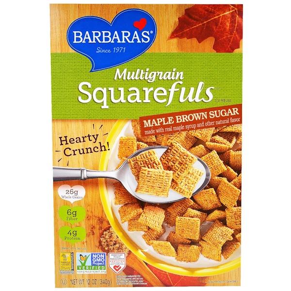Barbara's Bakery, Multigrain Squarefuls Cereal, Maple Brown Sugar, 12 oz (340 g) (Discontinued Item)